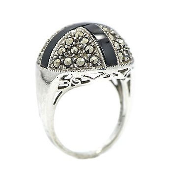 Ring Round Shape Marcasite Stones Sterling Silver With Black Cross Onyx Women's