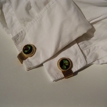 Vintage 1960s Cufflinks Rivoli Gold Toned Chain Wrap Wedding Grooms Gift