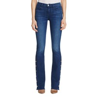 J Brand Womens Charlie Button Detail Whisker Wash Boot Cut Jeans