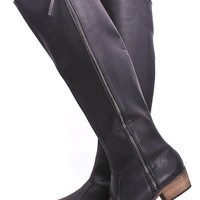 BLACK FAUX LEATHER SHARP TOE KNEE HIGH RIDING BOOTS