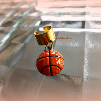 Basketball Ear Cuff, Sports Jewelry, Team Jewelry, Cartilage Earrings, Adjustable Ear Cuff, ,Direct Checkout, Ready to ship