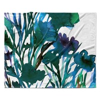 """Ebi Emporium """"Petal For Your Thoughts Teal"""" Turquoise Green Fleece Throw Blanket"""