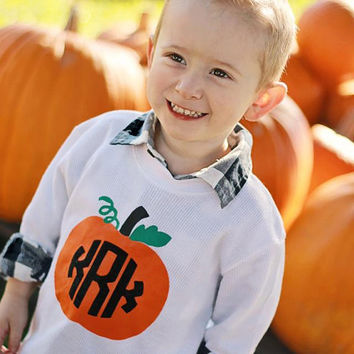 Child's Halloween Long Sleeve Tshirt or Onesuit with Pumpkin and Circle Monogram Initials -- 3 color