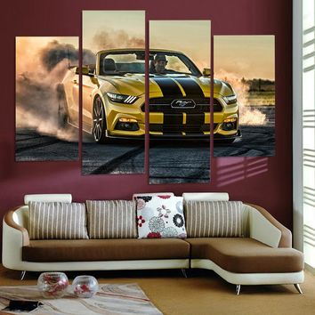 HD Printed Hennessy Ford Mustang Convertible Car Picture 4 panel wall art
