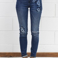 Floral Embroidery Distressed Skinny Jeans {Medium Wash}