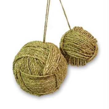 8 Twine Ball Ornaments - Ready-to-hang On A Twine Cord