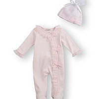 Starting Out Treasures Newborn-6 Months Bow Ruffle Coverall - Light Pi