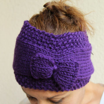 Womens Winter Accessories - Hand Knitted Headband Bow Earwarmer Purple Plum Fashion Accessories
