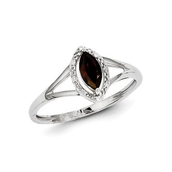 925 Sterling Silver Rhodium Plated Diamond and Garnet Marquise Ring