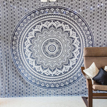Black Ombre Indian Mandala Tapestry Hippie Indian Bedspread Dorm Decor Wall Tapestries Queen Size Handmade