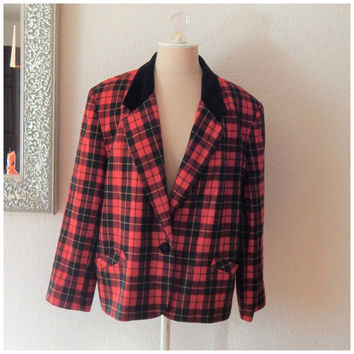 Vintage Alfred Dunner Jacket Blazer Red Black Yellow Plaid Velvet Collar