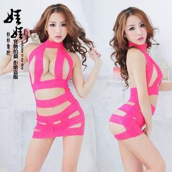 The latest hot [] doll Angel lace lingerie sexy pajamas, rose?one size? = 1932055620