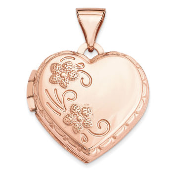 14k Rose Gold 15mm Domed Heart Locket XL658