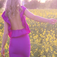 MAGENTA / PURPLE-PINK Low Open Back Ruffle Mini Dress By designer Justyna G