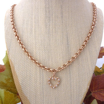 Chunky Chain and Swarovski crystal heart charm necklace, Rose Gold plated, long chain great for layering  By Siggy