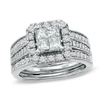 1-1/2 CT. T.W. PRINCESS-CUT QUAD DIAMOND BRIDAL SET IN 14K WHITE GOLD