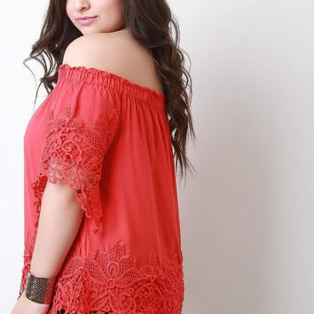 Off-The-Shoulder Lace Trim Short Sleeves Top