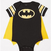 Batman Striped Sleeve Caped Baby Bodysuit - DC Comics - Spencer's