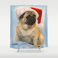 Christmas Pug Shower Curtain by Veronica Ventress