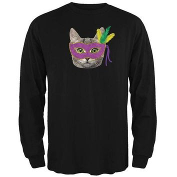 PEAP Mardi Gras Mask Funny Cat Black Adult Long Sleeve T-Shirt