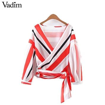 women red striped pleated loose shirts cross V neck bow tie blouses oversized long sleeve summer casual tops blusas LT1807
