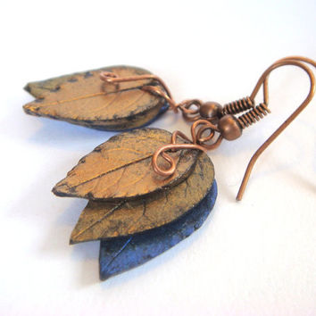 Leaf Earrings  Blue Gold and Bronze  Antique Bronze by JustClayin