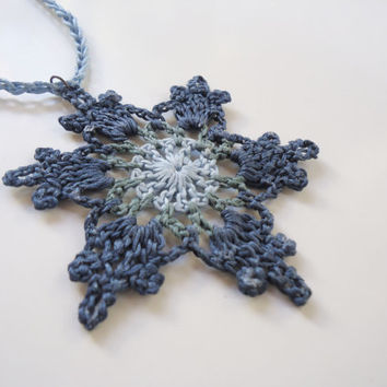 Long crochet necklace, blue green necklace, crochet pendant, women's necklace, star snowflake motif necklace, women's jewelry, boho necklace