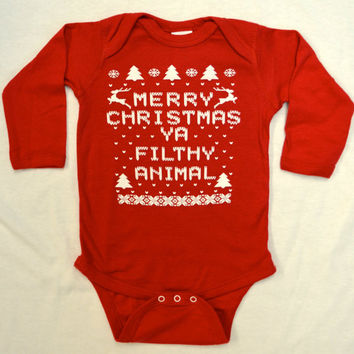 Baby Long Sleeve Onesuit (Bodysuit): RED Merry Christmas Ya Filthy Animal Ugly Sweater Contest All Sizes Newborn-6 mth-12 mth-18 mth