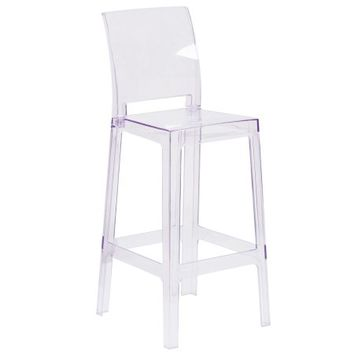 Flash Furniture Ghost Barstool in Transparent Crystal with Square Back - Walmart.com