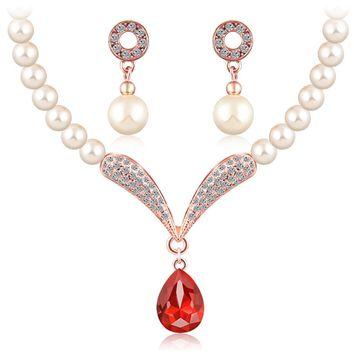 crystal jewelry sets women girls gold silver color african beads nigerian wedding bridal round necklace earrings jewellery set