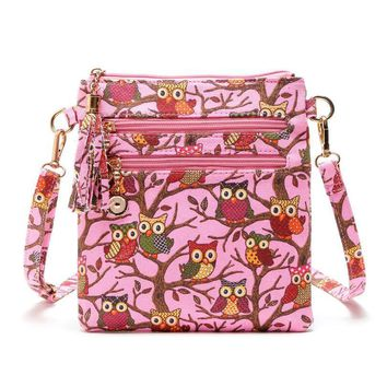 New Women Girl Printing Owl Tote Bags Handbag Shoulder Crossbody Bag Small Body  Ladies Purse Phone Zipper Bag Dropshipping ju1