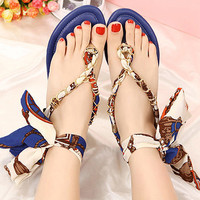 Flat Sandals with Satin Ribbon Tie