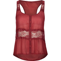 Full Tilt Lace Inset Womens Tank Burgundy  In Sizes