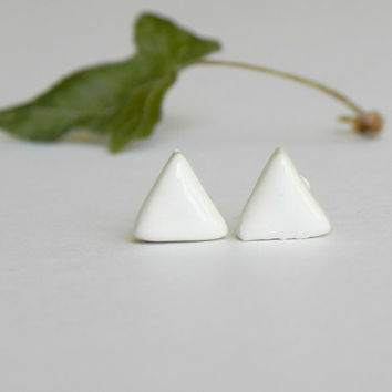 Triangle Ceramic Post Earrings White Stud Earrings Geometric Pottery Hypoalergenic  Surgical Steel Post