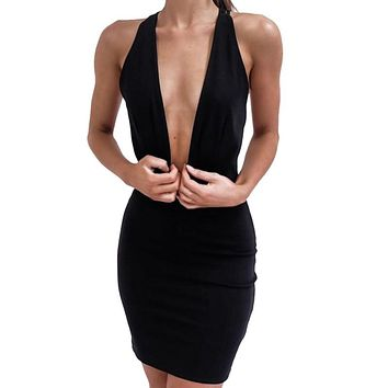 Women Deep V-neck Backless Cross Dresses Sexy Hollow Out Nightclub Style Solid Slim Bodycon Hip Tight Mini Dress
