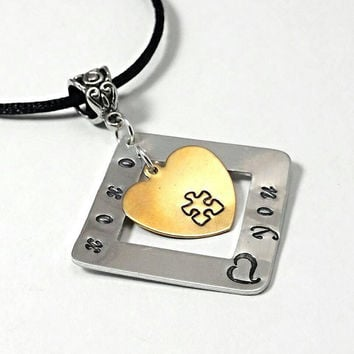 Autism necklace, Hugs and kisses hand stamped personalized jewelry, autism pendant, autism jewelry, puzzle necklace, mother's necklace,