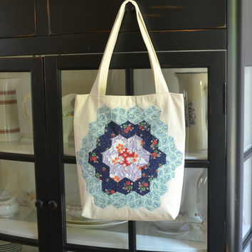MADE TO ORDER Tote Bag, Shoulder Bag, Carry All, Reusable Tote, Market Bag, Vintage Hexagonal Quilt Block, Applique, Diaper Bag, Patchwork
