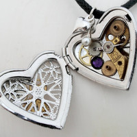 Steampunk filigree heart locket with purple Swarovski crystals and pearl charm, vintage watch partsand puffy heart charm- Unique gift
