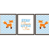 Stay Clever Little Fox Print //  Baby Boy or Girl Nursery Prints // Fox Room Decor // 3 - 8x10 Prints // Fox Prints // Fox Typography Prints