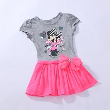 Minnie mouse Girl short sleeve Summer Top Dress Tutu Party Costume cartoon 1-4Y RT29