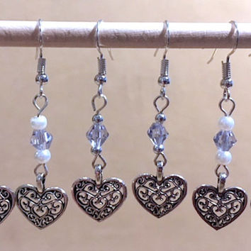 Pearls, Lavender Crystals & Silver Filigree Hearts Dangle Earrings, Handmade Original Fashion Earrings, Simple  Jewelry, Ladies Gift Idea
