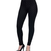Black & Tan Polka Dot Dylan Stretch Leggings