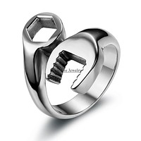 Fashion Cool Biker Mechanic Wrench Stainless Steel Ring