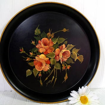 Round Black Hand Painted Floral ToleWare Metal Tray, Vintage Shabby Chic Peachy Pink Blush Color Roses Chippy Paint Signed Decorator Platter