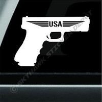 USA Handgun 45 Caliber Bumper Sticker Vinyl Decal Off Road Diesel Truck Jeep NRA