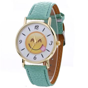 XINIU Smiling face Fashion Ladies Leather Wristwatch Fashion Womens Watches For Top Luxury Brand Leather Belt Relogios Femininos