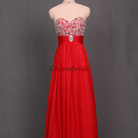 red chiffon christmas dresses with sequins and crystals unique floor length prom gowns for party stunning sweetheart evening dress cheap