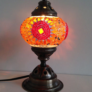 Beautiful Orange mosaic lamp made with nice vintage look metal base, Bedside lamp, Antique look, handmade authentic lamp, Small Night lamp
