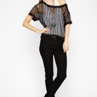 BCBGMAXAZRIA - SHOP BY CATEGORY: TOPS: VIEW ALL: BCBGENERATION WIDE-MESH TOP