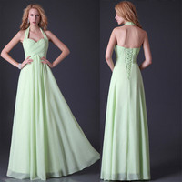 New Stock Sleeveless Long Prom Dress Formal Evening dresses Bridesmaid Maxi Gown